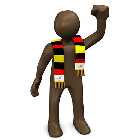 soccer fan: German soccer fan raising fist, manikin on white background, 3D rendering