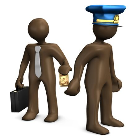 delinquency: Corrupt police officer taking dollar note from businessman, white background, 3D rendering