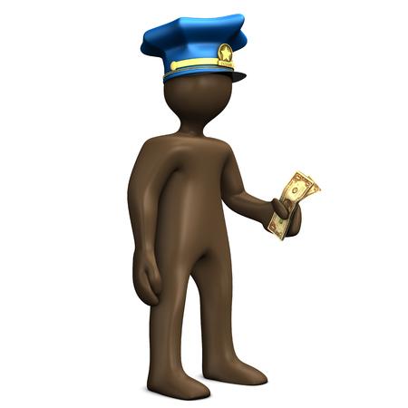 delincuencia: polic�a corrupto con la nota del d�lar en el fondo blanco, 3D Foto de archivo