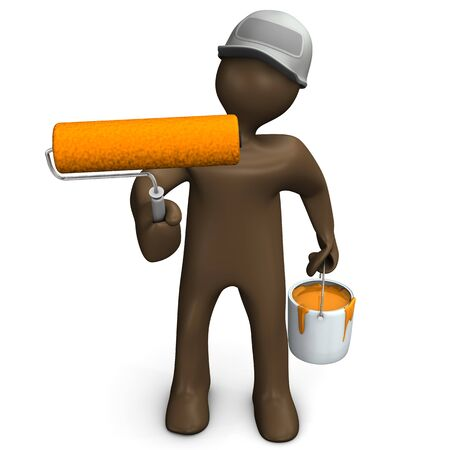 cartoon orange: Painter manikin with paint roll and bucket with orange paint, 3D rendering