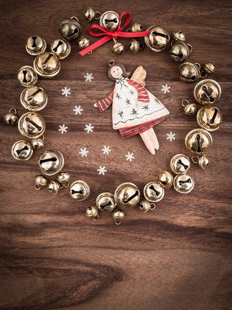 christmastime: Christmas, bells on wood, christmas decoration, angel, copy space Stock Photo