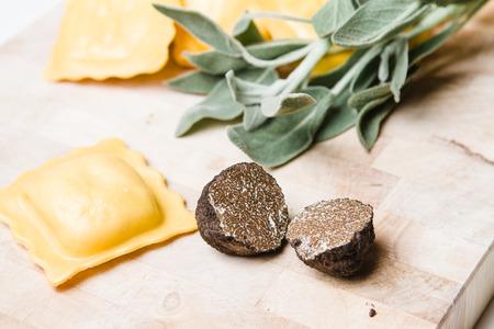 Italian, black truffle (Tuber Uncinatum) with handmade ravioli, sage and oil