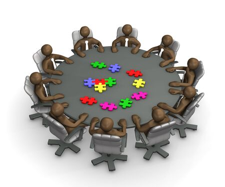Manikins sitting at round conference table, putting together jigsaw puzzle, 3D rendering