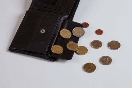 change purses: Wallet, Euro coins, white background