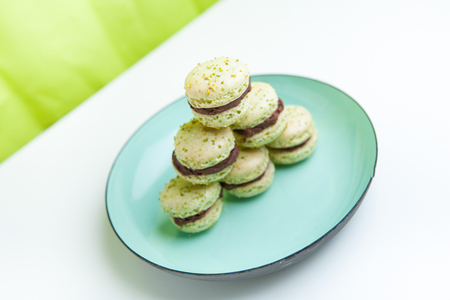 homemade: Home-made pistachio macaroons on plate