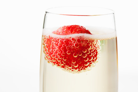 Champagne glass with strawberry 스톡 콘텐츠