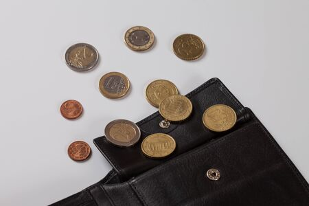 coin purses: Wallet, Euro coins, white background