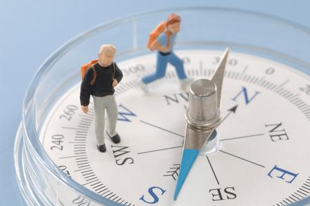 Schüler-Figuren auf Kompass platziert, close up