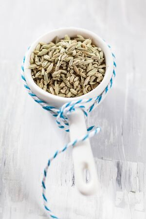 foeniculum: Fennel seeds (Foeniculum vulgare) in small porcelain bowl