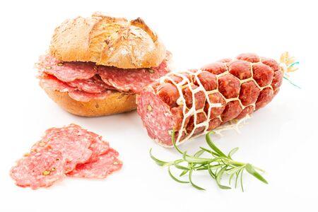 pepper salami: Pepper salami, bread roll