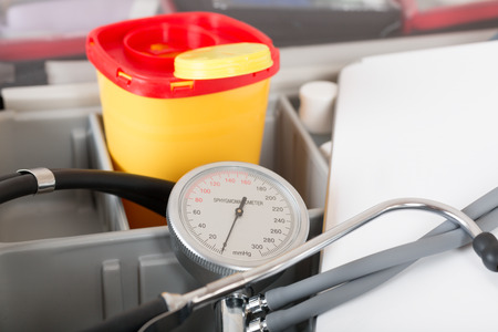 blood pressure gauge: Doctor bag with stehoscope and blood pressure gauge and box