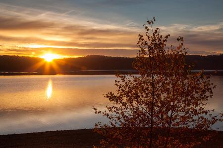 rhine westphalia: Germany, Nordrhein-Westfalen, Arnsberg Forest Nature Park, Moehnesee at sunset