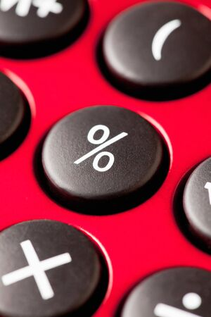 close up: Red calculator, close up