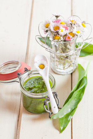 home made: Home made ramson pesto in preserving jar Stock Photo