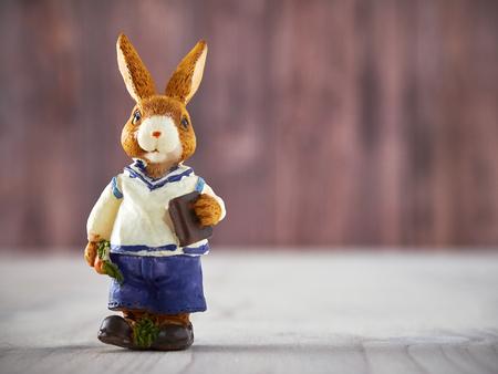 wood figurine: Easter, Easter bunny figurine on wood