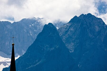 mountainscape: Germany, Bavaria, Garmisch-Partenkirchen, Zugspitze Stock Photo