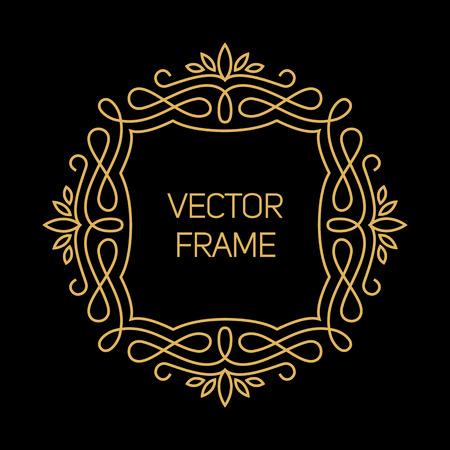initials: Vector geometric frame in mono line style. Art deco monogram design element
