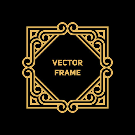 mono color: Vector geometric frame with copy space for text in trendy mono line style. Monogram design element in golden and black color. Illustration
