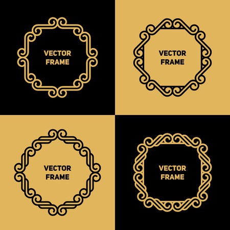golden frame: Vectorl frame with copy space for text in trendy mono line style - monogram design element