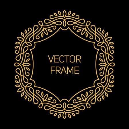 mono color: Vector geometric frame with copy space for text in trendy mono line style. Monogram design element in golden and black color Illustration
