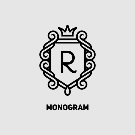 crown logo: Monogram design template, Elegant logo design, vector illustration Illustration