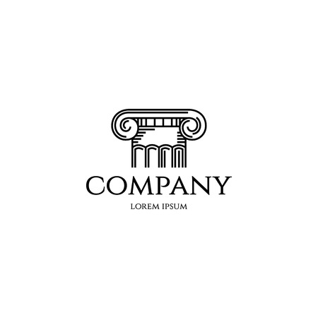 capitel: Columna logotipo de la plantilla de diseño. Imagen Esquema gráfico de la columna de capitales estilo griego o romano clásico. Vector