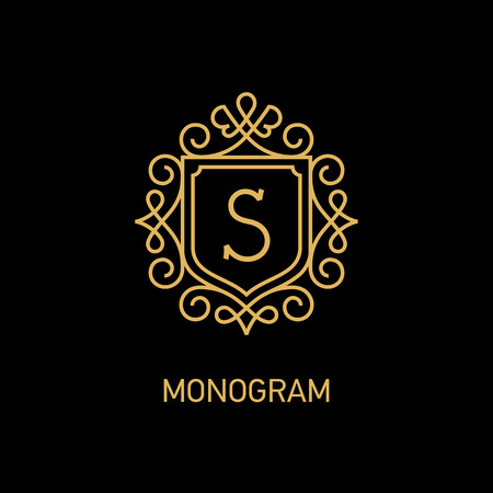 Elegant monogram design template with letter S. Vector illustration Çizim