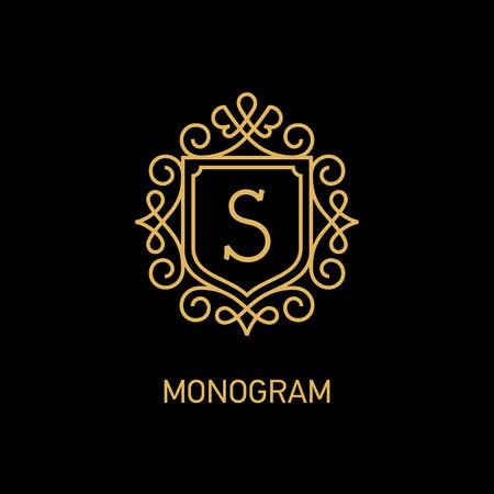 Elegant monogram design template with letter S. Vector illustration Vectores