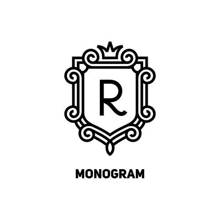 Elegant monogram ontwerp sjabloon met letter R en de kroon. Vector illustratie.