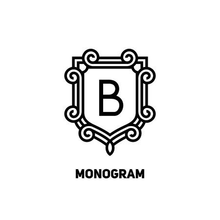 Stylish monogram design. Elegant line art logo design, vector template Vectores