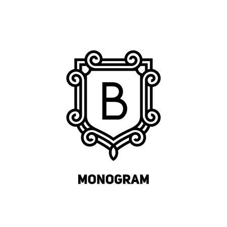 Stylish monogram design. Elegant line art logo design, vector template Çizim