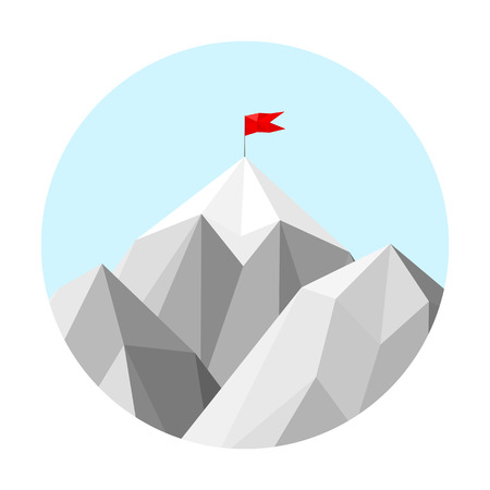 red competition: Mountain low-poly style illustration Illustration