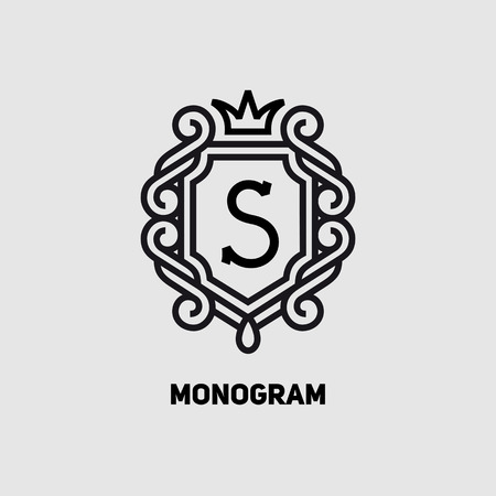 Elegant monogram design template with letter S and crown. Vector illustration. Çizim