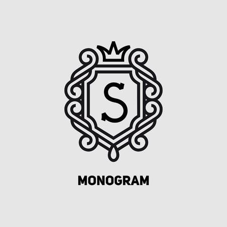 classic: Elegant monogram design template with letter S and crown. Vector illustration. Illustration