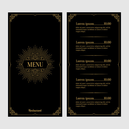 Restaurant menu design. Black and gold