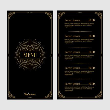 Restaurant menu design. Black and gold