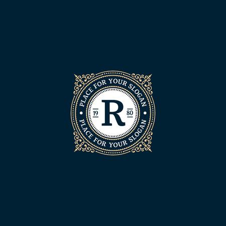 Eenvoudige monogram ontwerp sjabloon met letter R. Elegant frame ornament lijn logo ontwerpen. Goed voor Restaurant, Boutique Hotel, heraldisch, Sieraden.