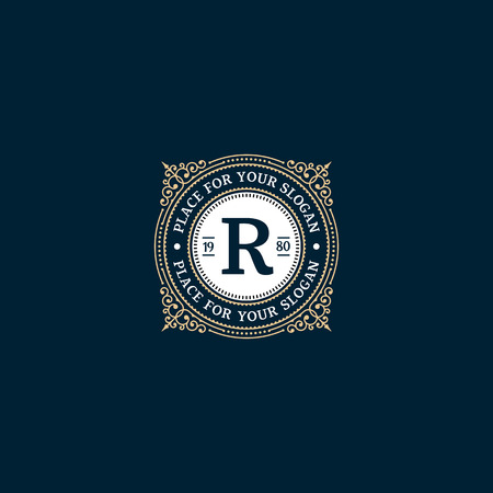 Simple monogram design template with letter R. Elegant frame ornament line logo design. Good for Restaurant, Boutique, Hotel, Heraldic, Jewelry.