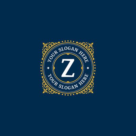 boutique hotel: Plantilla Simple dise�o del monograma con la letra Z. elegante del ornamento del marco logo l�nea de dise�o. Bueno para restaurante, Boutique, Hotel, her�ldico, joyer�a.