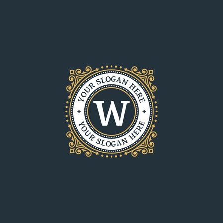 Eenvoudig monogram ontwerp sjabloon met letter W. Elegant frame ornament lijn logo ontwerpen. Goed voor Restaurant, Boutique, Hotel, heraldisch, Sieraden. Stock Illustratie