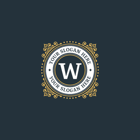 Simple monogram design template with letter W. Elegant frame ornament line logo design. Good for Restaurant, Boutique, Hotel, Heraldic, Jewelry.