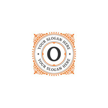 art logo: Simple monogram design template with letter O. Elegant frame ornament line logo design. Good for Restaurant, Boutique, Hotel, Heraldic, Jewelry.
