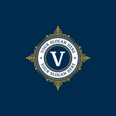 Simple monogram design template with letter V. Elegant frame ornament line logo design. Good for Restaurant, Boutique, Hotel, Heraldic, Jewelry. 일러스트