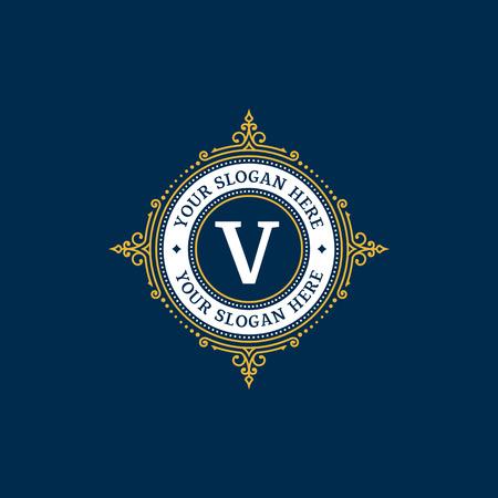 Simple monogram design template with letter V. Elegant frame ornament line logo design. Good for Restaurant, Boutique, Hotel, Heraldic, Jewelry.  イラスト・ベクター素材