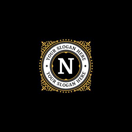 Simple monogram design template with letter N. Elegant frame ornament line logo design. Good for Restaurant, Boutique, Hotel, Heraldic, Jewelry. Vectores
