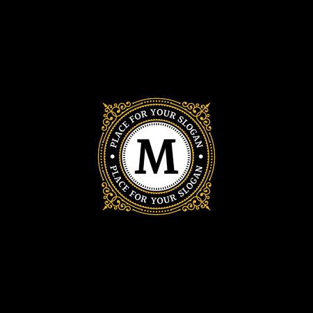 Eenvoudige monogram ontwerp sjabloon met letter M. Elegant frame ornament lijn logo ontwerpen. Goed voor Restaurant, Boutique Hotel, heraldisch, Sieraden.