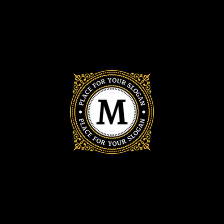 boutique hotel: Simple monogram design template with letter M. Elegant frame ornament line logo design. Good for Restaurant, Boutique, Hotel, Heraldic, Jewelry.