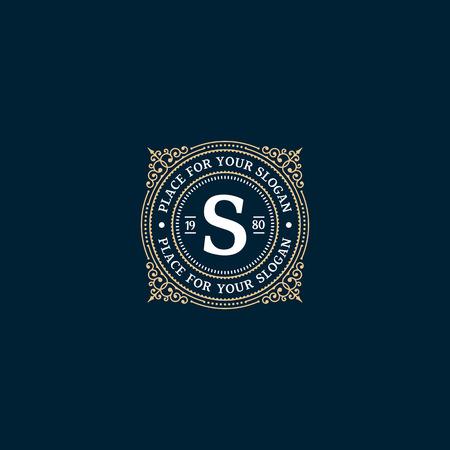 Eenvoudig monogram ontwerp sjabloon met letter S. Elegant frame ornament lijn logo ontwerpen. Goed voor Restaurant, Boutique, Hotel, heraldisch, Sieraden. Stock Illustratie