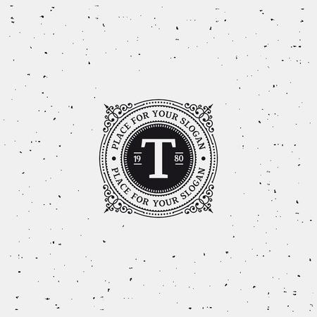 Eenvoudig monogram ontwerp sjabloon met letter T. Elegant frame ornament lijn logo ontwerpen. Goed voor Restaurant, Boutique, Hotel, heraldisch, Sieraden. Zwart en wit. Stockfoto - 40928206