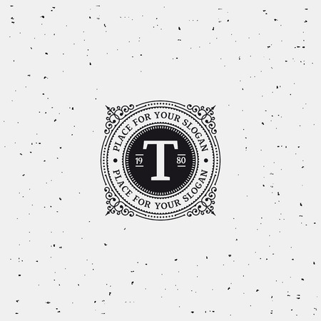 Simple monogram design template with letter T. Elegant frame ornament line logo design. Good for Restaurant, Boutique, Hotel, Heraldic, Jewelry. Black and white. Vectores